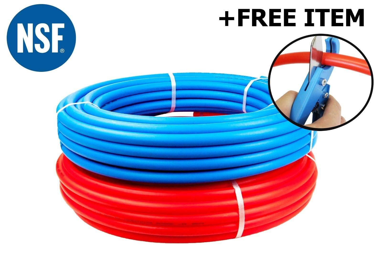 1/2-Inch Pex Tubing Combo - 100' Blue 100 Feet Red Flexible Tubing - 200 Feet of Water Polyethylene Tube Pipes -  Non-Barrier Flexible Flow Coil Pipe - PEX-B 1/2'' 100-Feet Hot & Cold by CMI Inc.