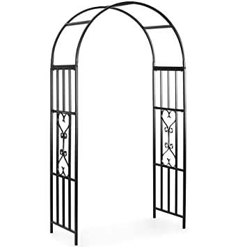 VonHaus Metal Arbour Garden Arch for flowers plants roses and