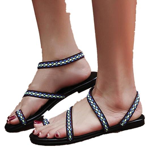 48ee05ff1197c Women Boho Simple Flat Sandals Plaid Clip Toe Flip Flops Flat Bottom Roman  Sandals