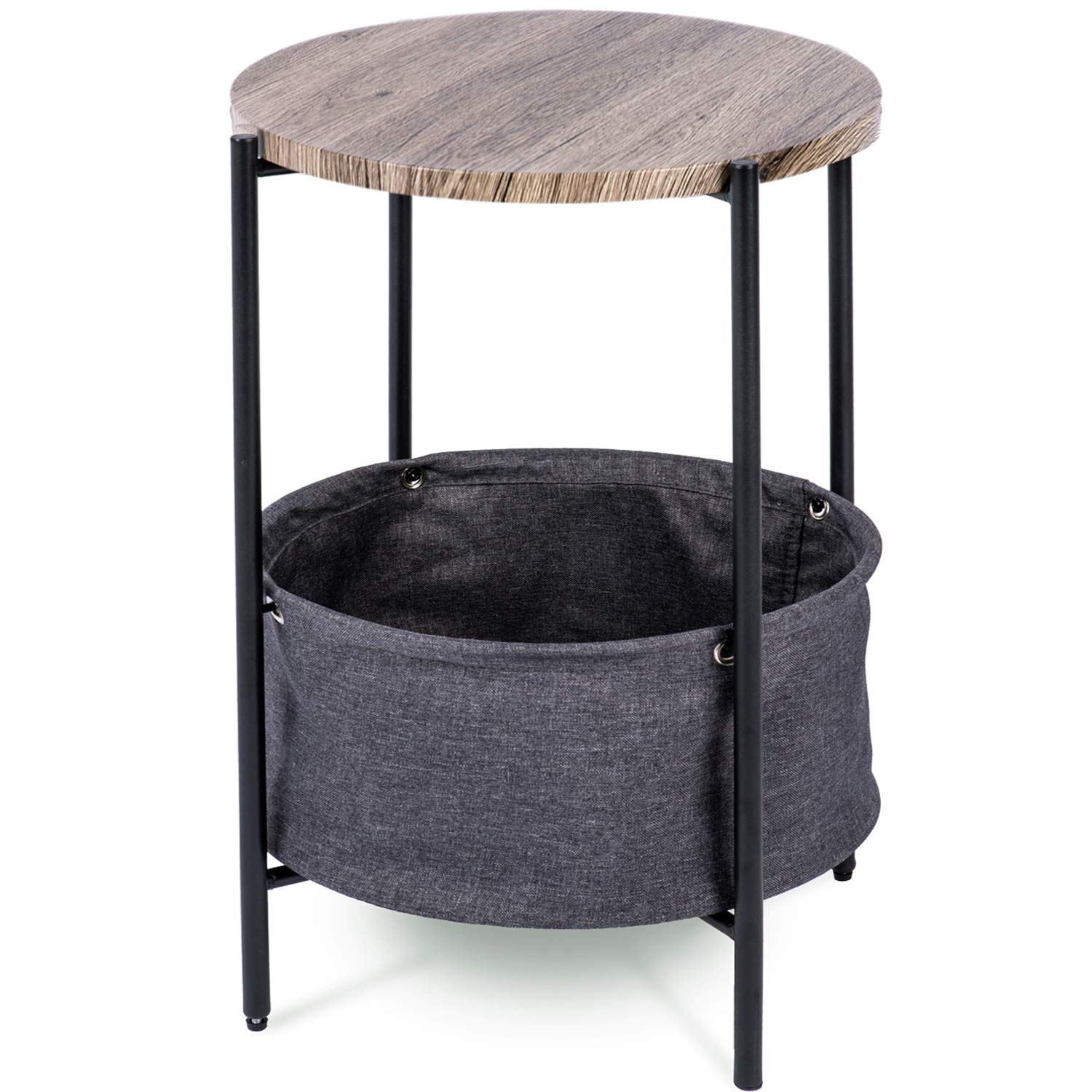 Urest Side Table with Fabric Storage / Modern Round End Table / Night Stand / Coffee Table, Grey by Urest