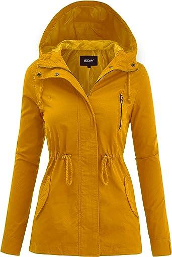 FASHION BOOMY Women's Zip Up Safari Military Anorak Jacket with Hood Drawstring - Regular and Plus Sizes at Amazon Women's Coats Shop
