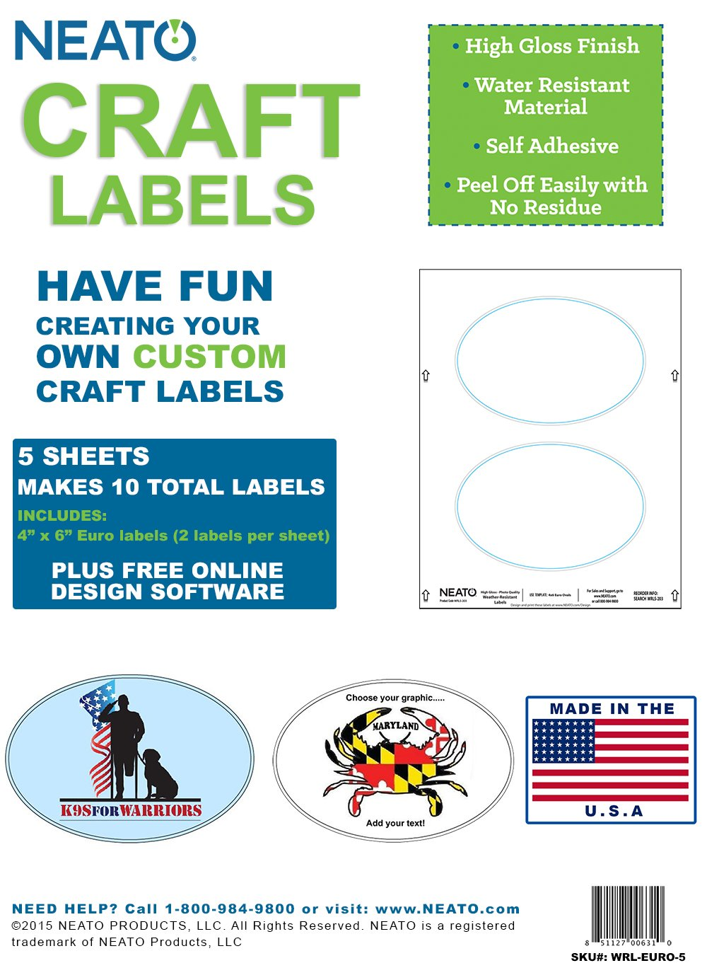 Amazon com neato craft labels 4 x 6 euro glossy vinyl 5 sheets 10 labels office products