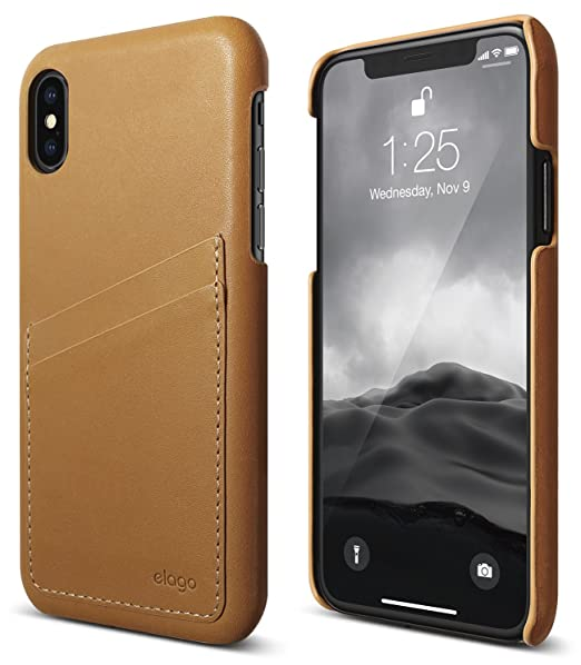 new concept ff674 367c6 elago Genuine Leather Series for iPhone Xs case, iPhone X Case - Authentic  Italian Leather Personalized Wallet Protective Cover for Apple iPhone Xs ...