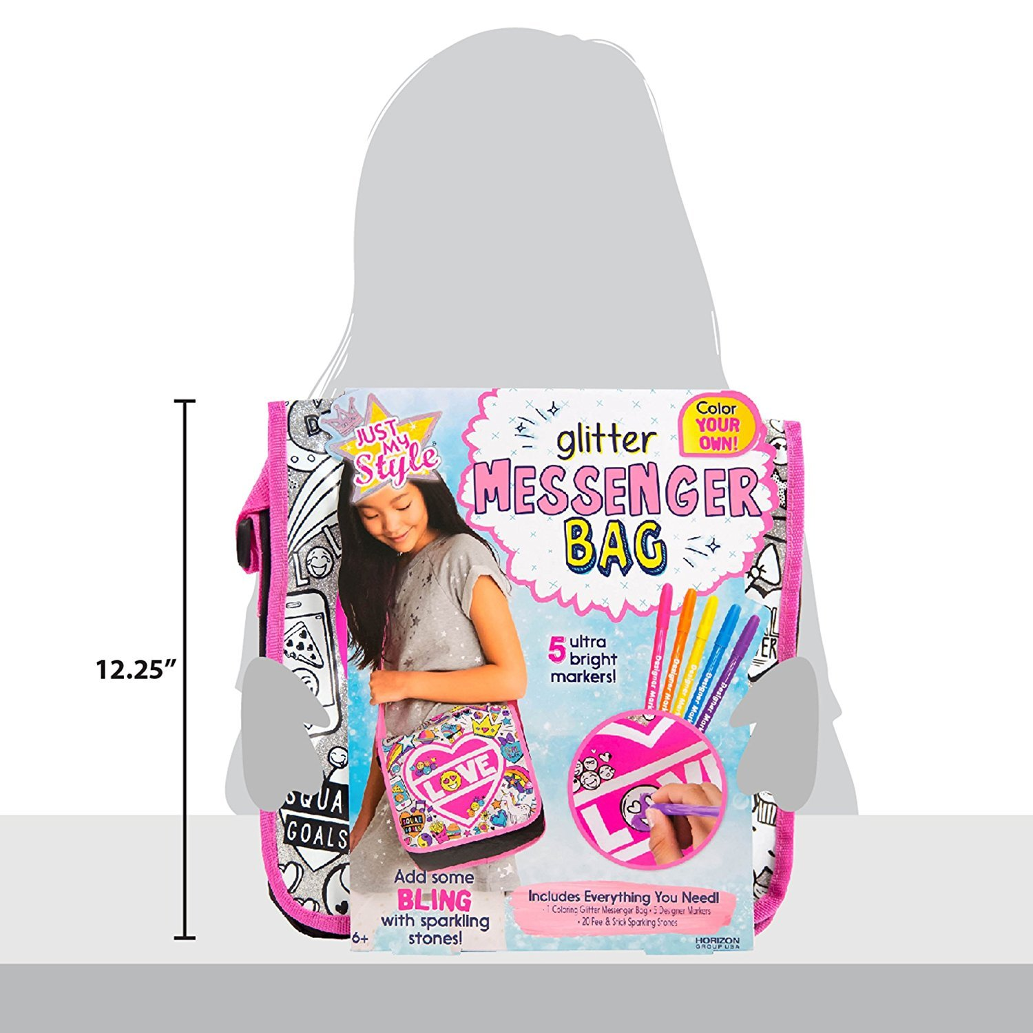 Just My Style Color Your Own Glitter Messenger Bag by Horizon Group USA by Just My Style (Image #5)