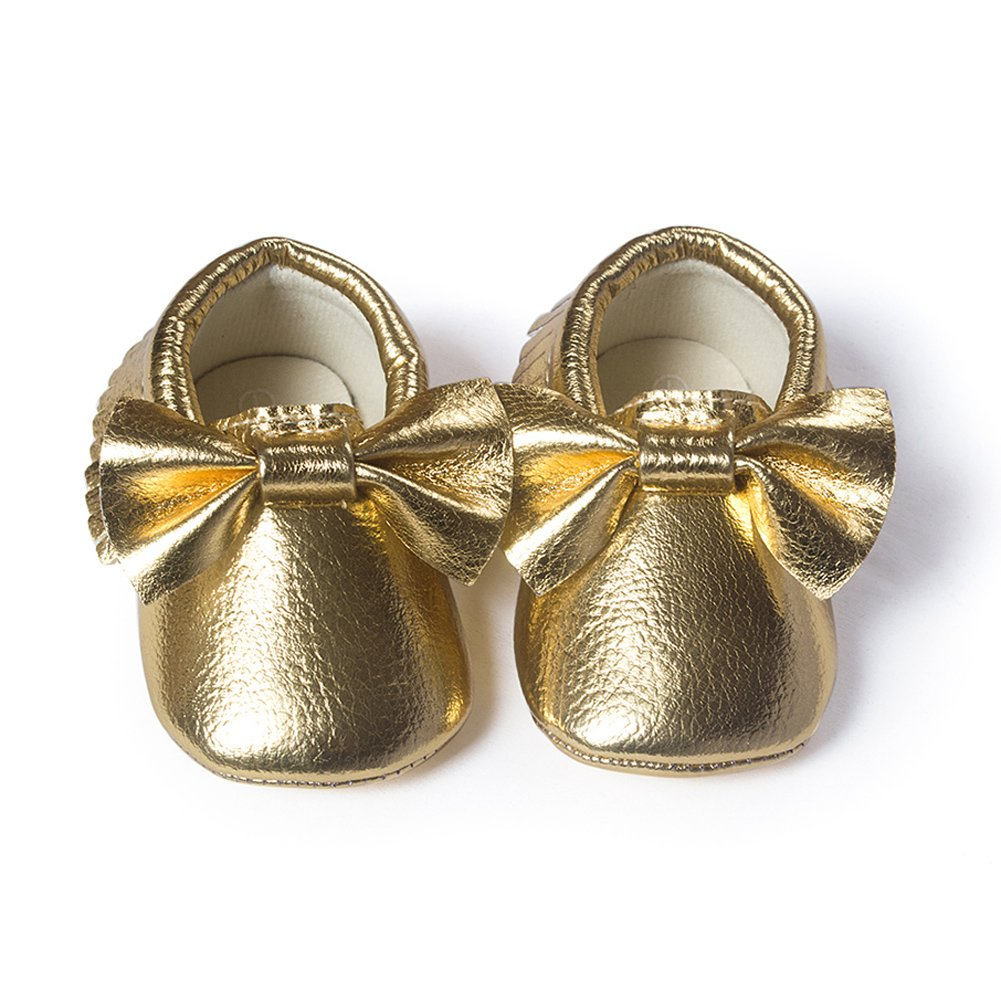 YOHA Infant Baby Girls PU Moccasins Bow Tassels Toddler Shoes with Elastic Bow Headband Set