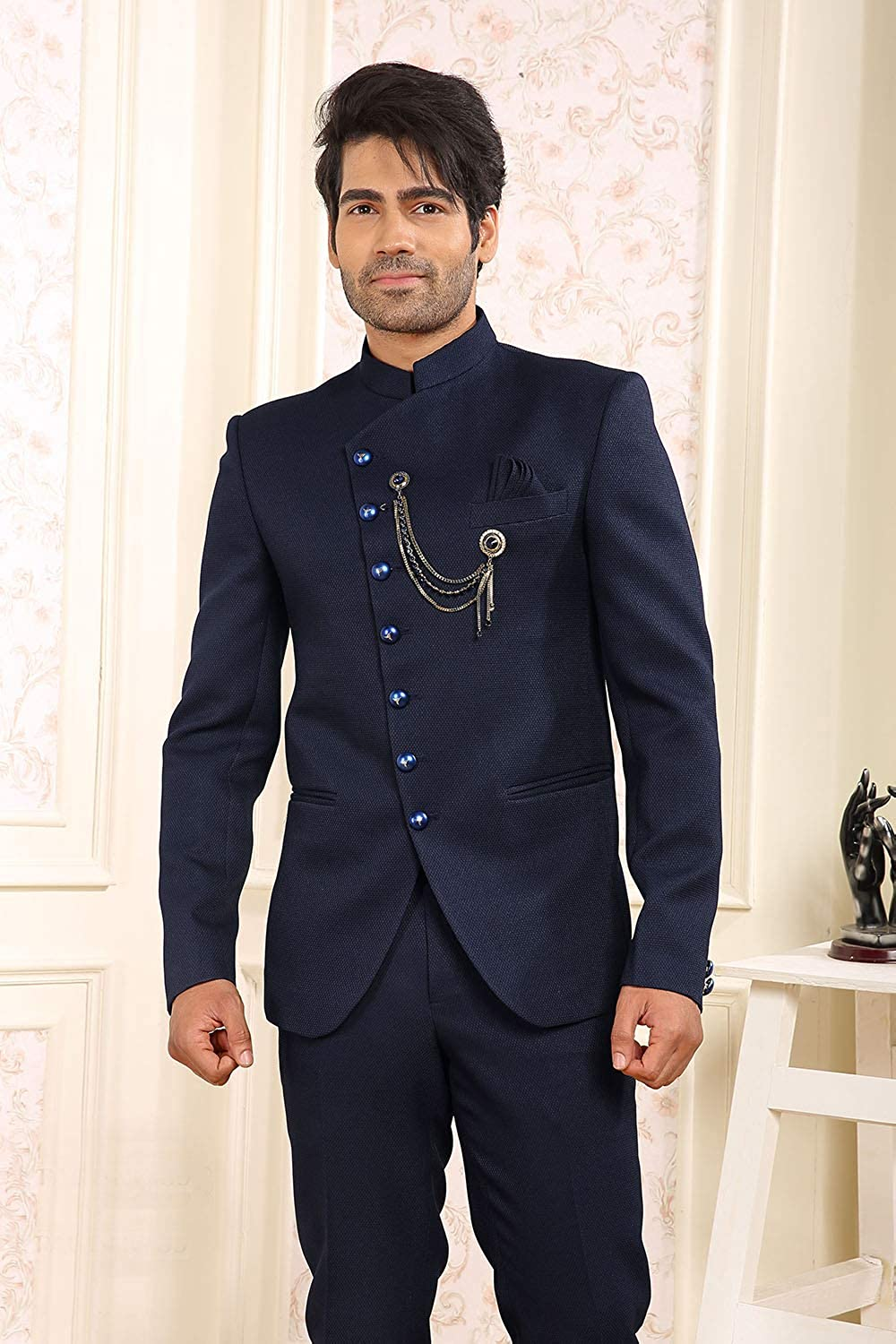 Indian Suit For Men Boys Wedding 4 Pc Suit Jodhpuri Achkan Bandhgala Suit In Navy Blue Imported Suiting Fabric Icw2297 16 36 At Amazon Men S Clothing Store