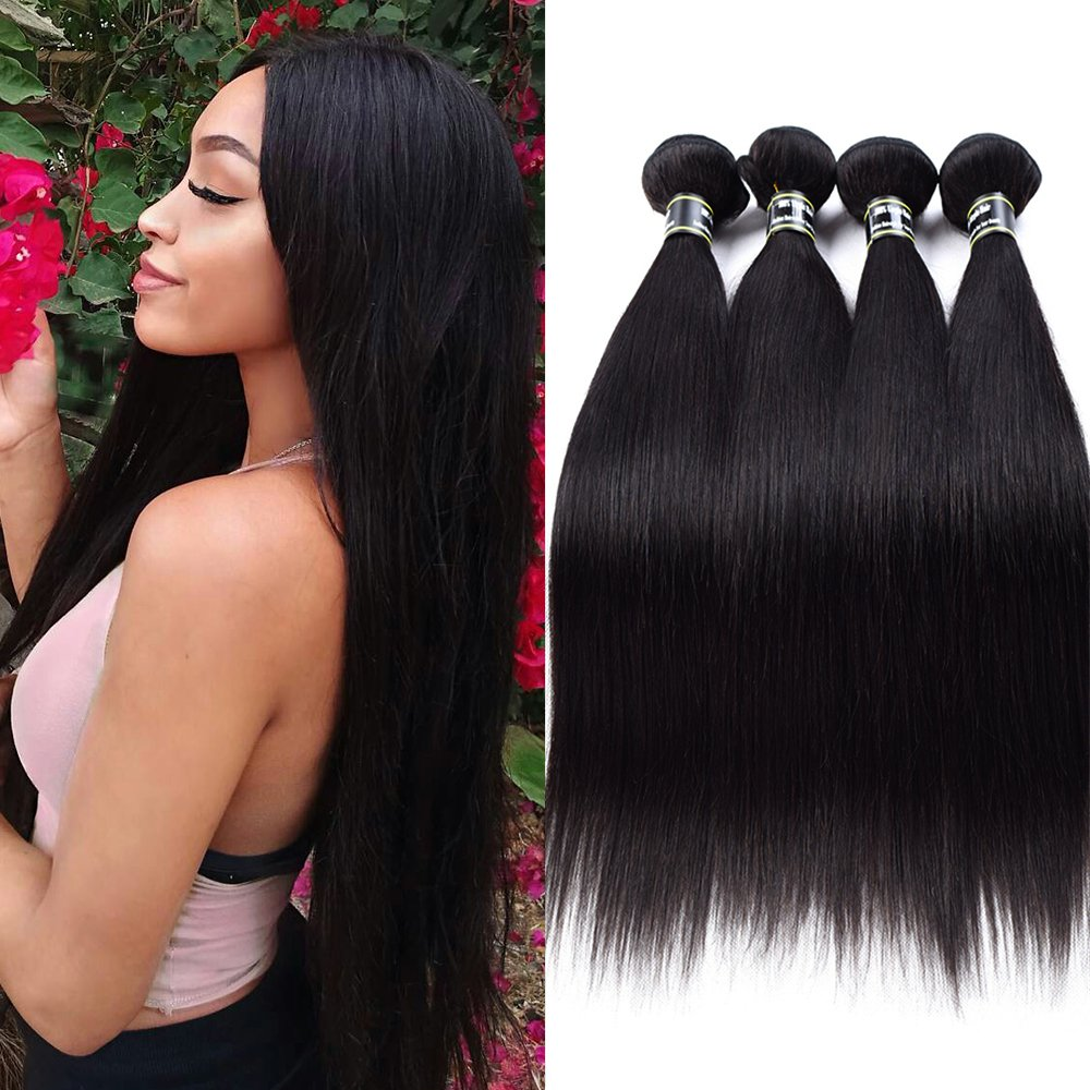 Star Show Hair Brazilian Straight Hair 4 Bundles Human Hair Extensions Brazilian Virgin Hair Soft and Thick Straight Hair Bundles (18 20 22 24 inch)