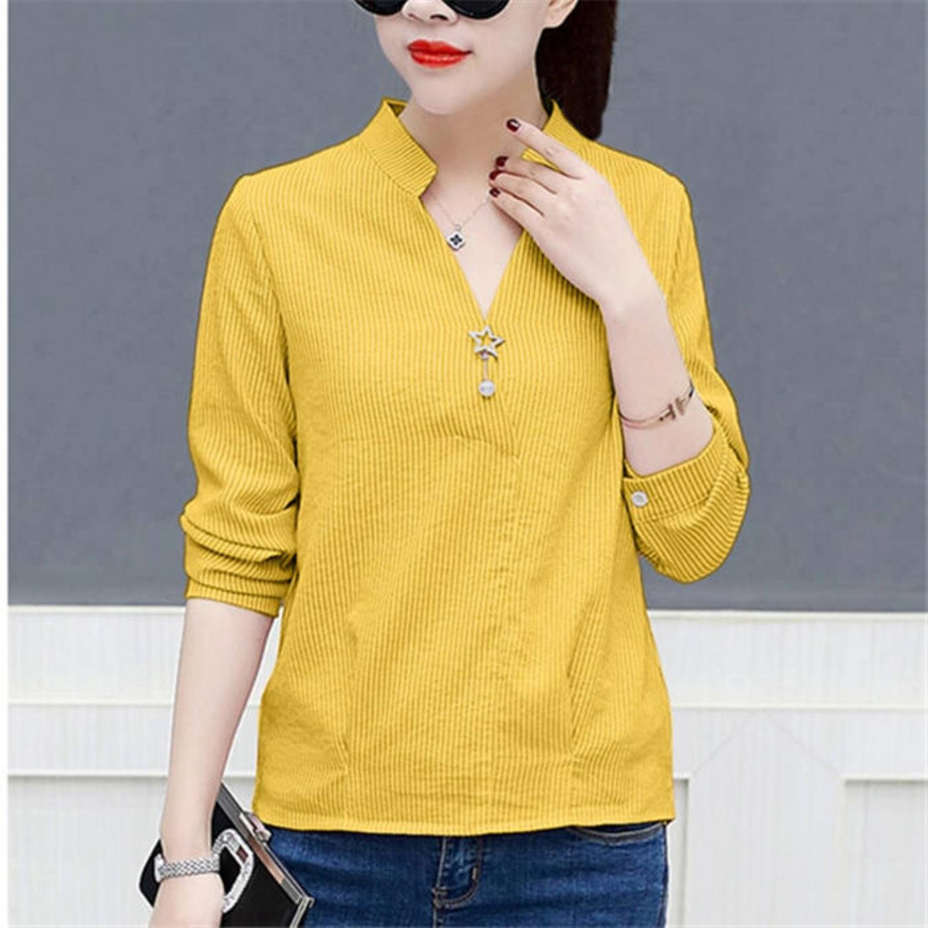 Long Sleeve Striped Blouses Women Shirts Back Button Slit Fashion V-Neck Office Shirt Women Tops