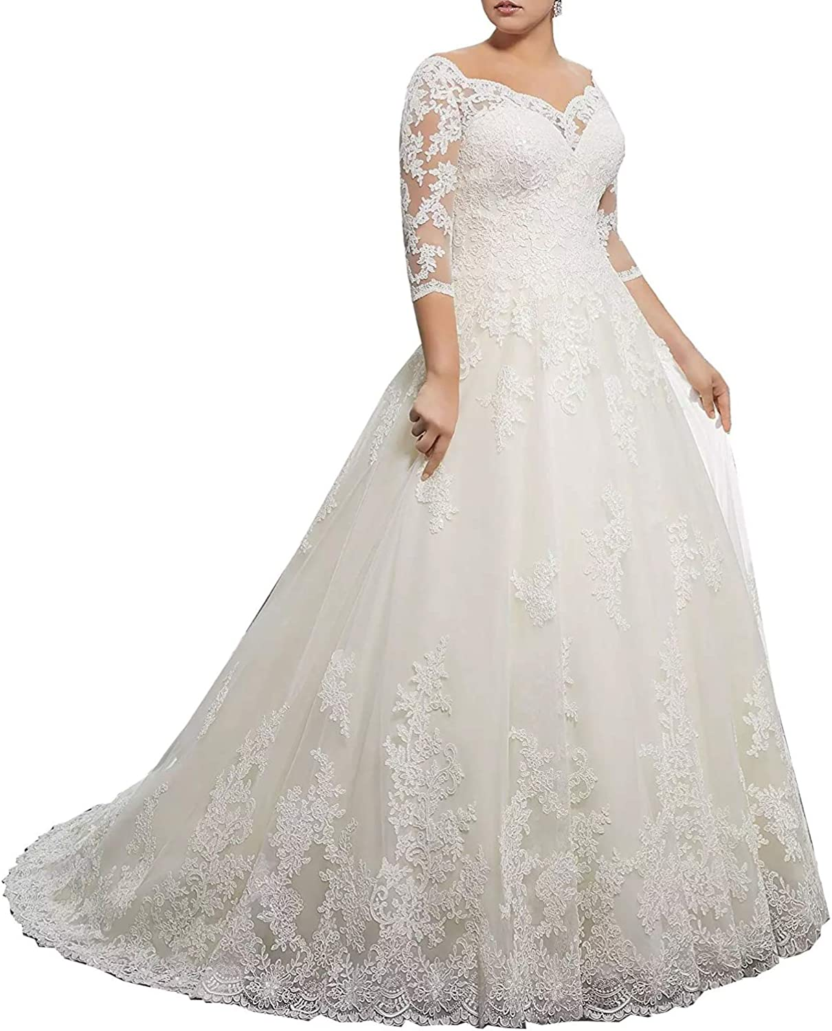 Elegant Womens Plus Size Wedding Dresses for Bride Long Appliques Lace Ball Gowns 3//4 Sleeves Bridal Dress