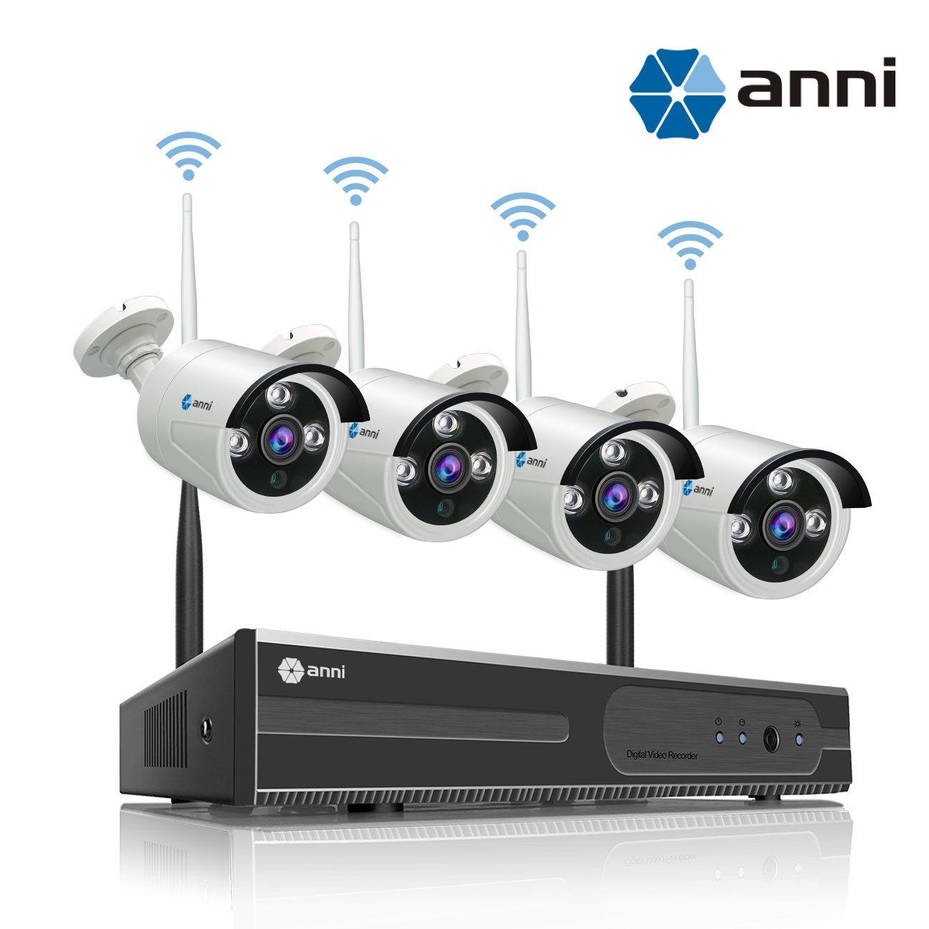 Anni Kit de Cámaras Seguridad WiFi Vigilancia Inalámbrica Sistema 1080P 4CH HD NVR, (4) 1.0MP megapíxeles 720P Cámara CCTV NVR Kit de Seguridad, P2P, ...