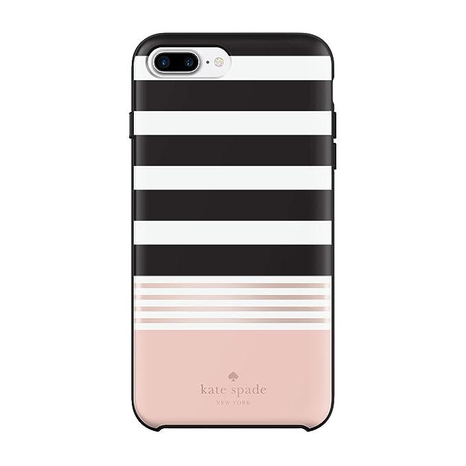 best service c8a44 fd2e0 Incipio Apple iPhone 7 Plus/8 Plus Kate Spade New York Hybrid Hard-Shell  Case - Stripe 2 (Black/White/Rose Gold Foil)