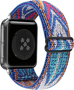Adjustable Stretchy Solo Loop Nylon Strap Compatible with Apple Watch Elastic Band 42mm 44mm iWatch Series SE/6/5/4/3/2/1 (Blue Arrow, 42mm/44mm)