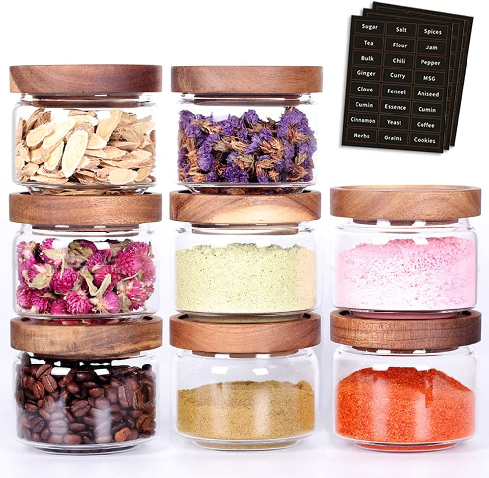 Tzerotone 8 Pcs Spice Containers - 8.5oz Glass Spice Jars With Acacia Airtight Lid and Labels - Stackable Empty Round Spice Bottles for kitchen Seasoning, coffee bean, tea, suger, herbs