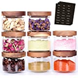 Tzerotone 8 Pcs Spice Containers - 8.5oz Glass Spice Jars With Acacia Airtight Lid and Labels - Stackable Empty Round Spice B