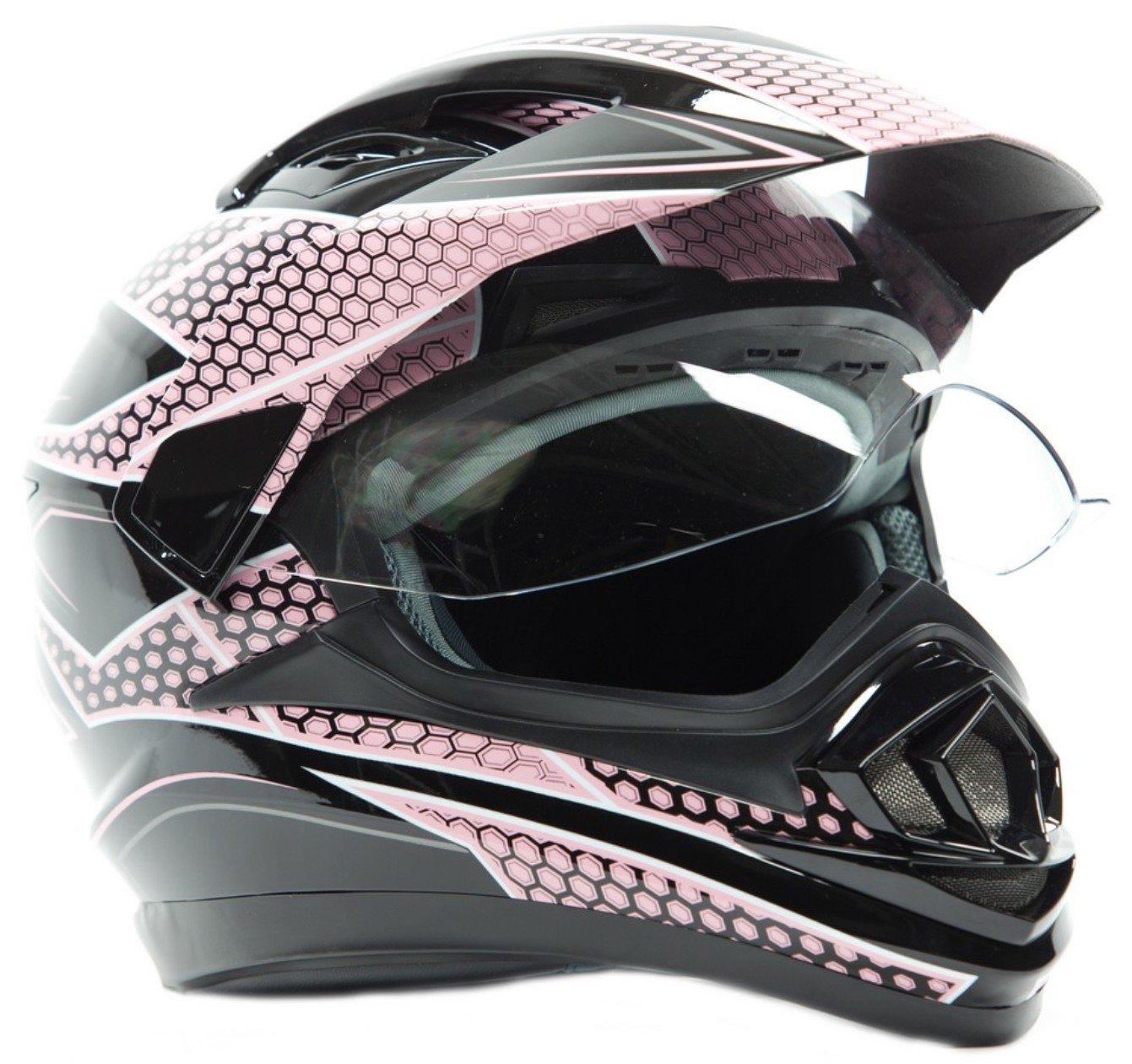 Dual Sport Helmet - Off Road Motocross UTV ATV Motorcycle Enduro - Pink & Black - Large