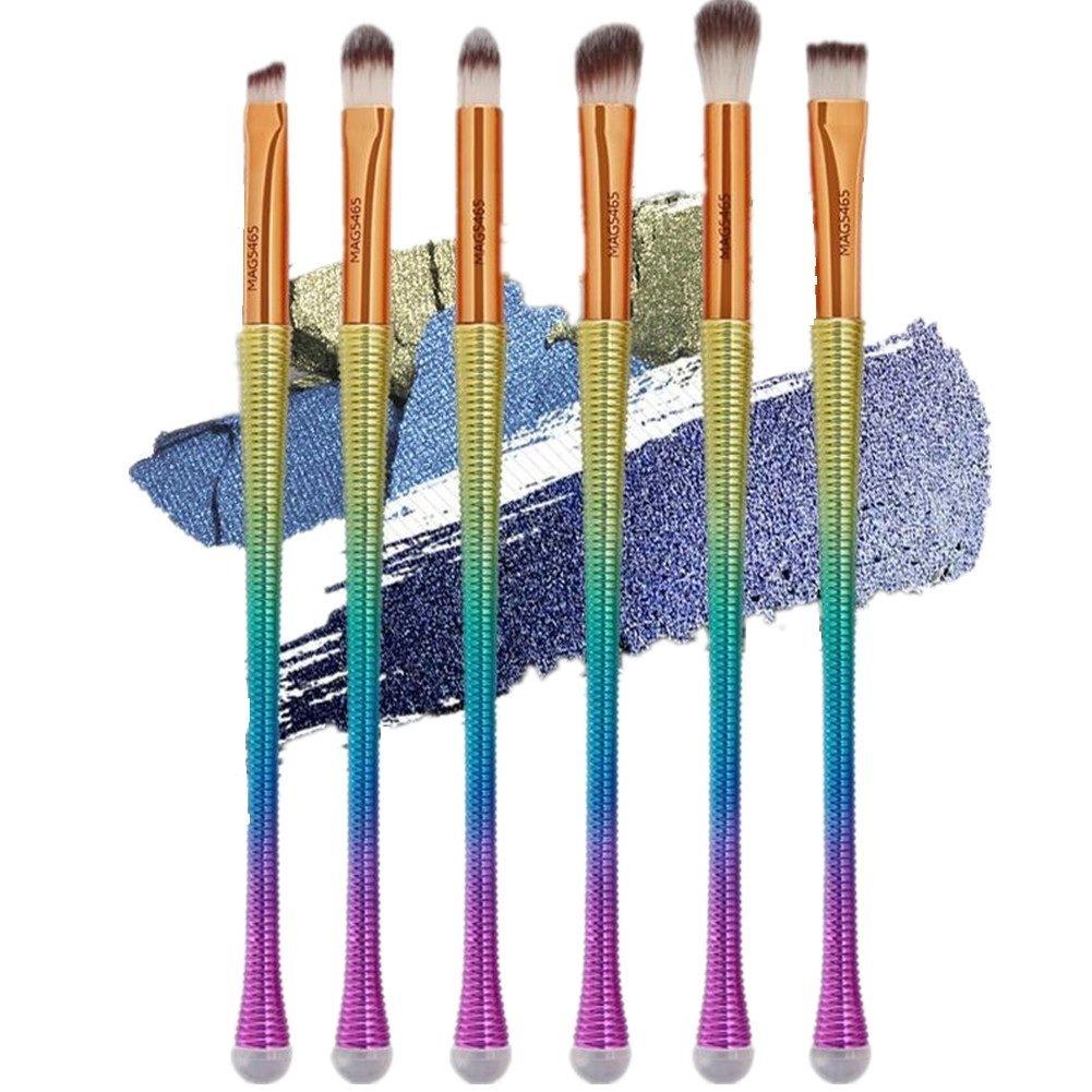 Eye Makeup Brushes Set,Cheap4uk 6 PCS Rainbow Fish Shape Cosmetics Tool Eyeliner Eyeshadow Blending Brushes Makeup Tools Cosmetic Eye Brushes Set(Rainbow)