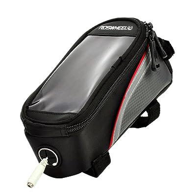 12496s-c510,7cm sacoche de vélo W/écouteurs 3,5mm Trou–Noir + Rouge