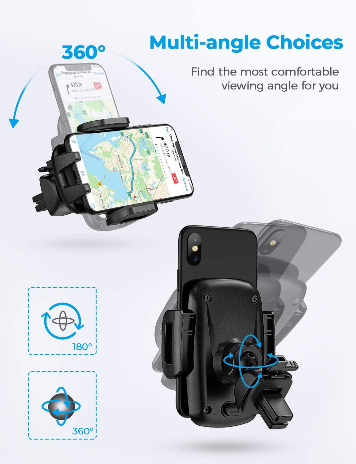 3-Level Adjustable Clip Upgrade Clamp Arm Rotatable Phone Mount Compatible iPhone 11 Pro Max XS XR X 8 7 6Plus Etc One Button Release Clamp Mpow Car Phone Mount Air Vent Phone Holder