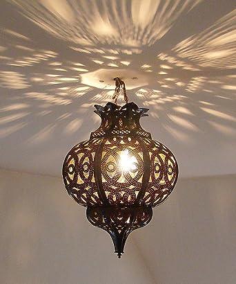 Lustre plafonnier marocain en métal ciselé 40cm lampe marocaine ...