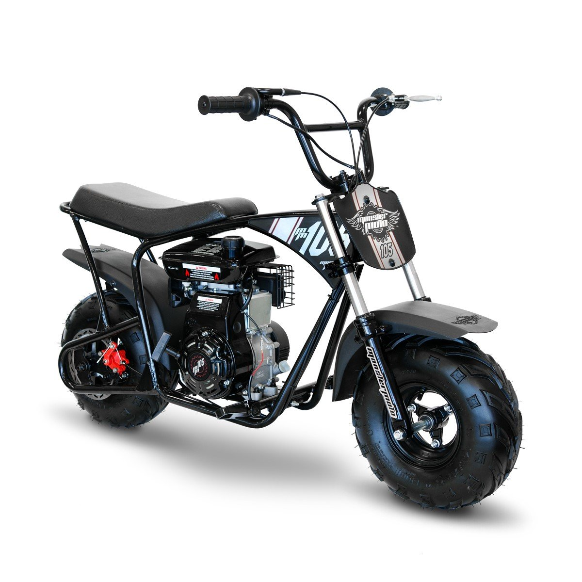 Monster Moto Limited Edition Black on Silver 105CC Mini Bike with Front Suspension-MM-B105-BBX by Monster Moto (Image #2)