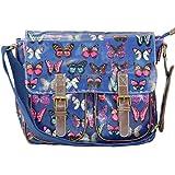 Miss Lulu Oilcloth Blue Butterfly Cross Body Satchel Shoulder Bag