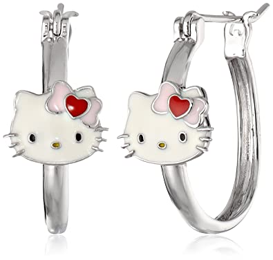 304a4a759 Amazon.com: Hello Kitty Sterling Silver Heart Bow Enamel Station Hoop  Earrings: Jewelry