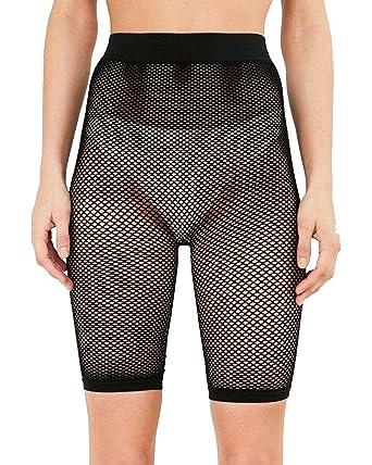 442ccfd0619050 New Womens Fishnet Mesh See Through Slim Fit 3/4 Leggings Cycling Short Hot  Pant