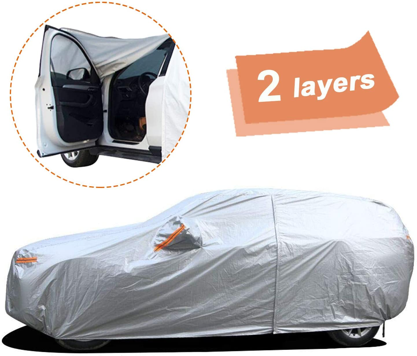 """SEAZEN Car Cover with Zipper,2 Layer Full Car Covers Waterproof All Weather,UV Protection Snowproof Dustproof,Universal Car Cover (Fit SUV Jeep-Length Up to 190"""")"""