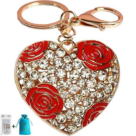 Amazon.com: bolbove Rose Flor Love Corazón Llavero con ...