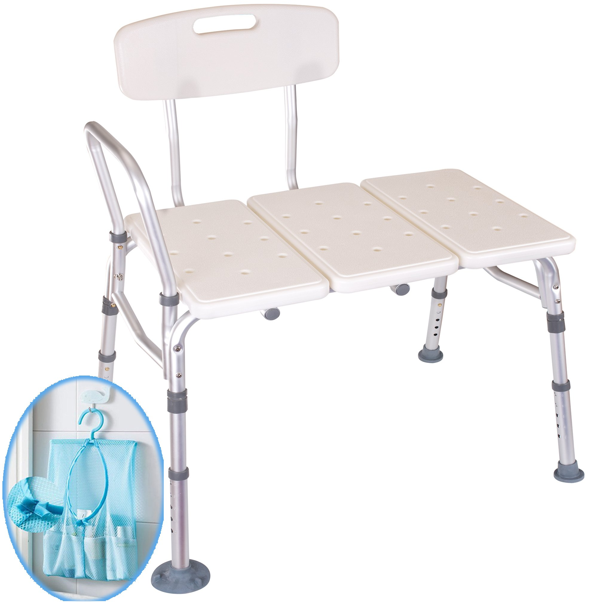 Medokare Tub Transfer Bath Bench - Bath Seat with Shower Tote Bag, Tubside Benches, Handicap Shower Seat for Adults, Elderly Seniors Shower Stool Seats (White Shower Bench)
