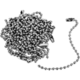 Housweety 100pcs Silver Tone Connector Clasp Ball Chains Keychain Tag 12cm (12CM-100PCS)
