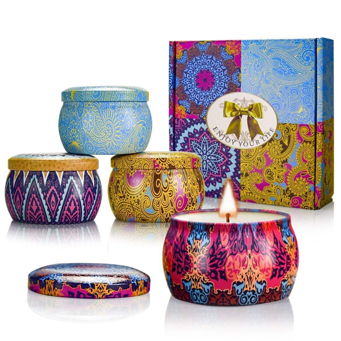 YMING Scented Candles Gift Sets - Natural Soy Wax Votive Candle 4.4 Oz Portable Travel Tin Perfect for Negativity Unwanted Energies Purifies Cleanses & Banishes 4 Pack