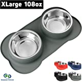 Large Dog Bowls & Mat Set - 2 Large Capacity 54oz (108oz Total) Removable Stainless Steel Bowl Set in a Stylish No Mess, No Spill, Non Skid, Silicone Mat. Food & Water Bowls for Medium to Large Dogs