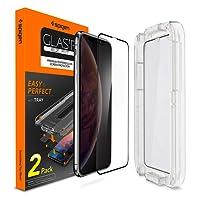 """Spigen, 2Pezzi, Vetro Temperato iPhone XS / X (5.8""""), EZ FIT, Kit di installazione incluso , Vetro temperato 9H premium, Custodia compatibile, Copertura Totale, Compatibile con Face ID, Ultra Clear, 5.8 pollici, Protezione per Schermo iPhone X / XS, Pellicola Protettiva iPhone X / Pellicola iPhone XS (2018) (063GL25165)"""