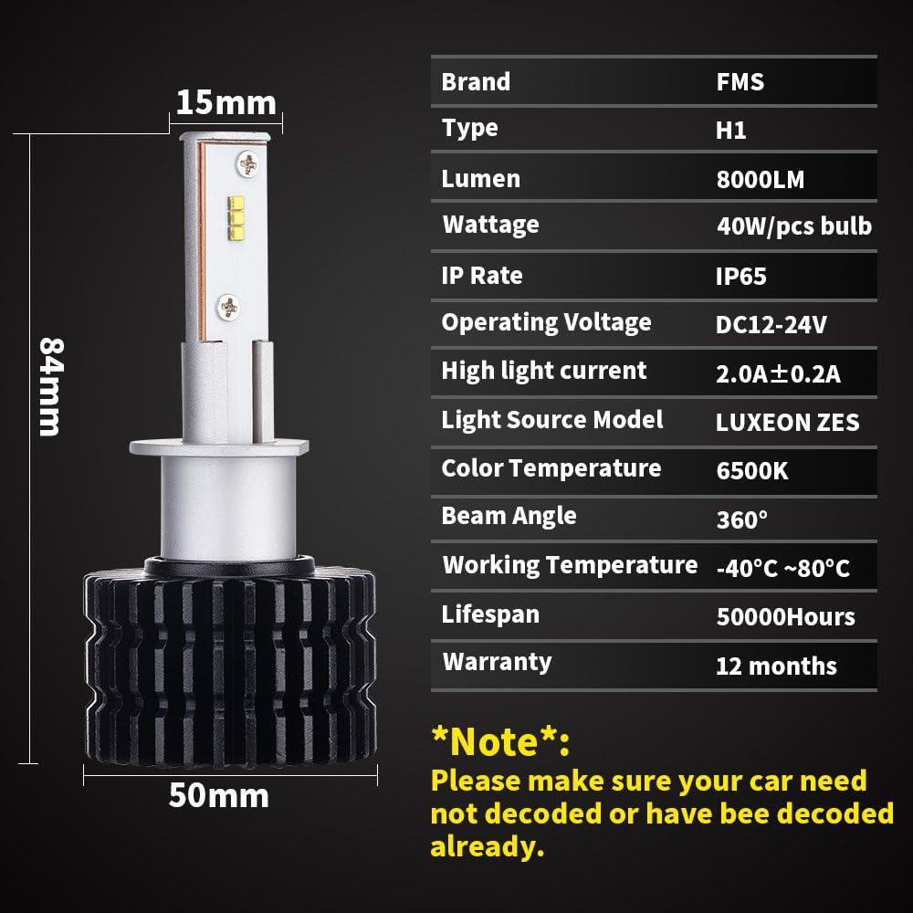 FMS 2 * H1 LED Faro Bombillas LED Coche Kit, Moto Alquiler de Luces del LED ZES Chips 40W 4000LM luz Bombilla Blanca: Amazon.es: Coche y moto
