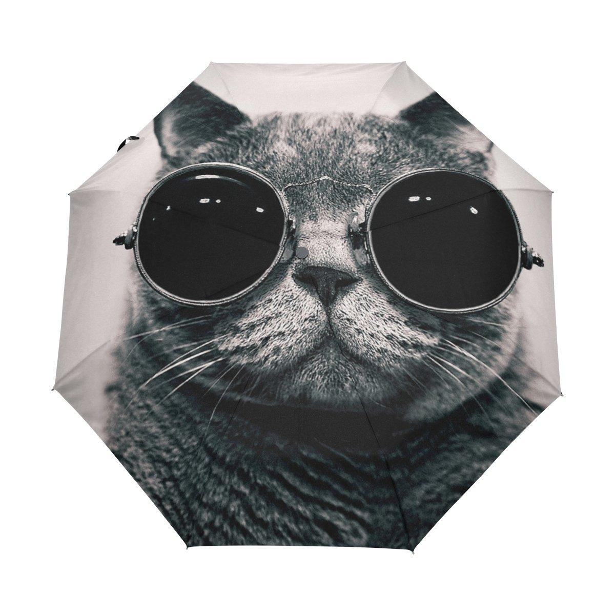 太陽と雨コンパクトトラベル傘防風UV保護軽量ポータブルアウトドア折りたたみゴルフ傘Auto Open Close Folding Umbrellas外部Cool Cat   B07BK1CXT8