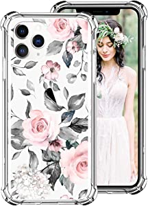 iDLike iPhone Xr Case for Women Girls, Clear Floral Flower Cute Design Hard Plastic Back + Soft TPU Bumper Protective Shockproof Phone Case Cover for Apple iPhone Xr 6.1 2018, Pink/Gray