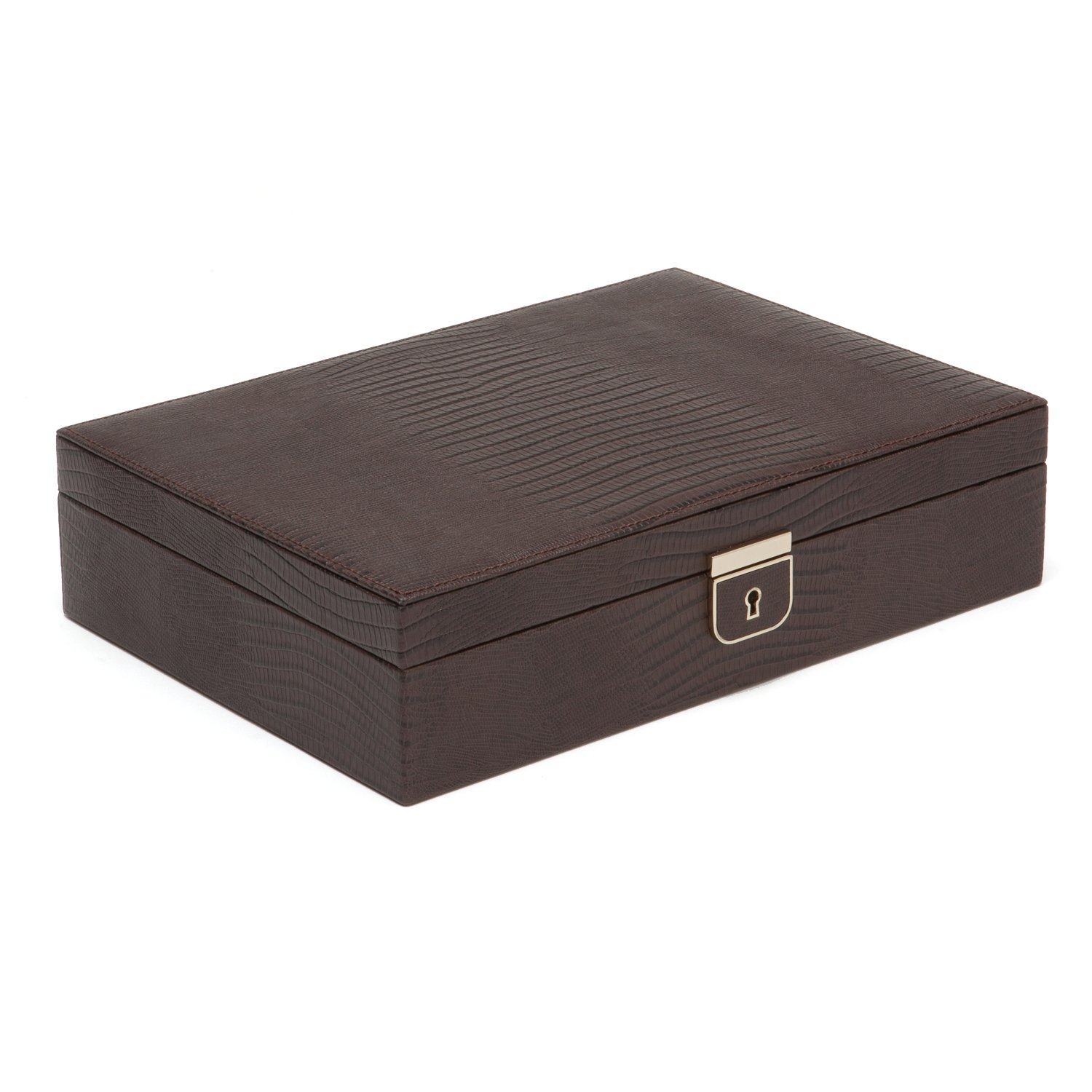 Wolf Designs Palermo Medium Leather Flat Jewelry Boxes in Brown