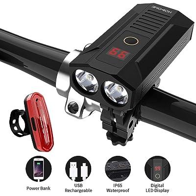 Hosome Juego de luces de bicicleta, luz delantera de bicicleta recargable USB de 5200 mAh con banco de energía y pantalla LED digital Faros impermeables de 900 lúmenes y de luces traseras de 120 LM