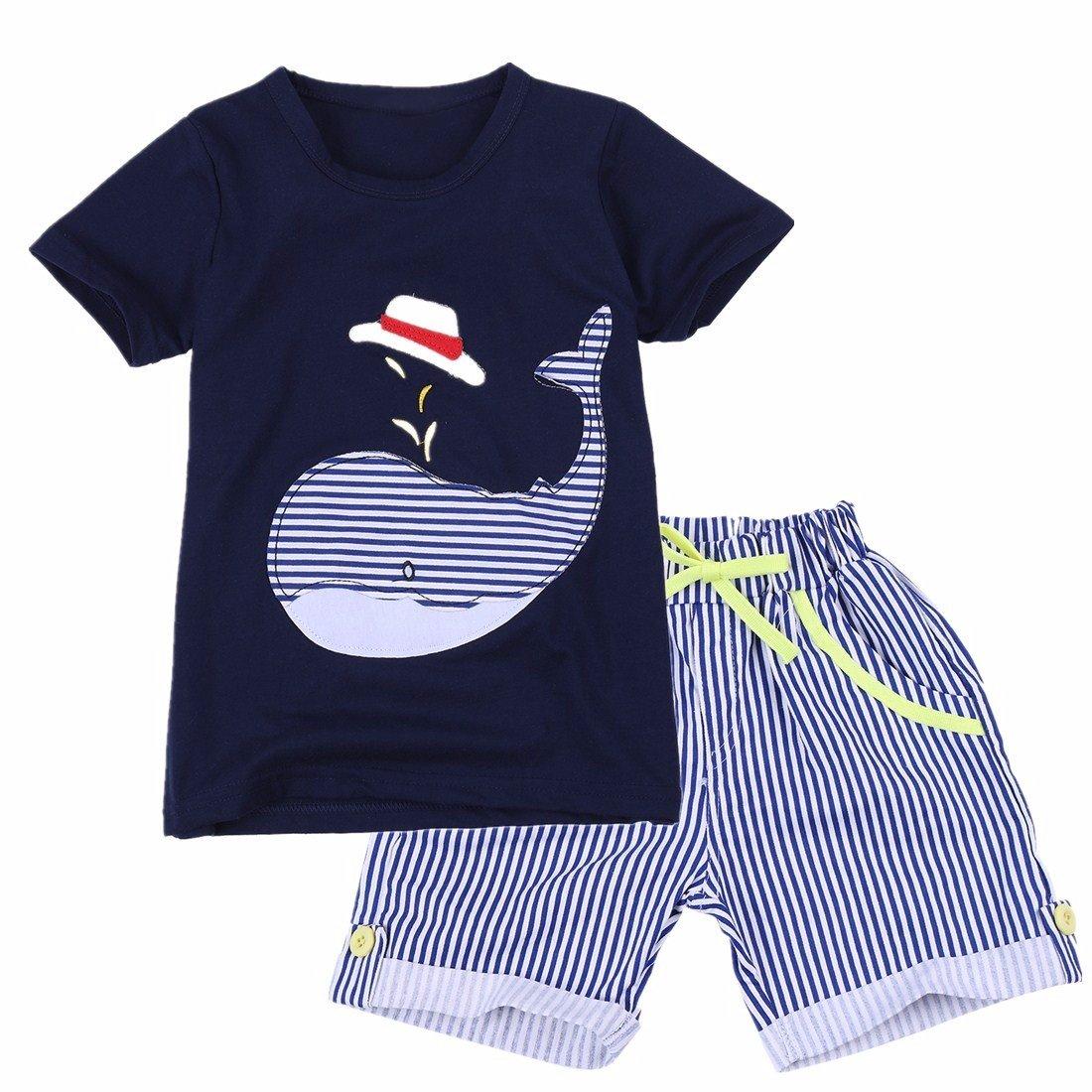 YiZYiF Conjunto Ropa Niños Camiseta de Manga Corta Pantalones Cortas Rayadas 2PCS Traje De Verano Playa para niños