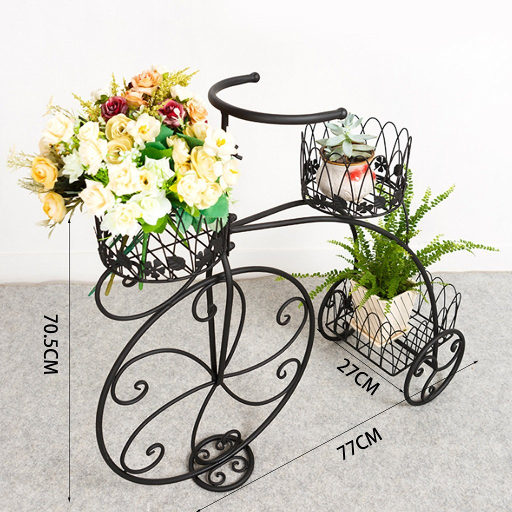 XZGDEN Vintage Parisien Style Tricycle 3 Niveaux pr/ésentoir de jardini/ère en m/étal Noir//Porte-Pot de Fleurs//Support de Plantes