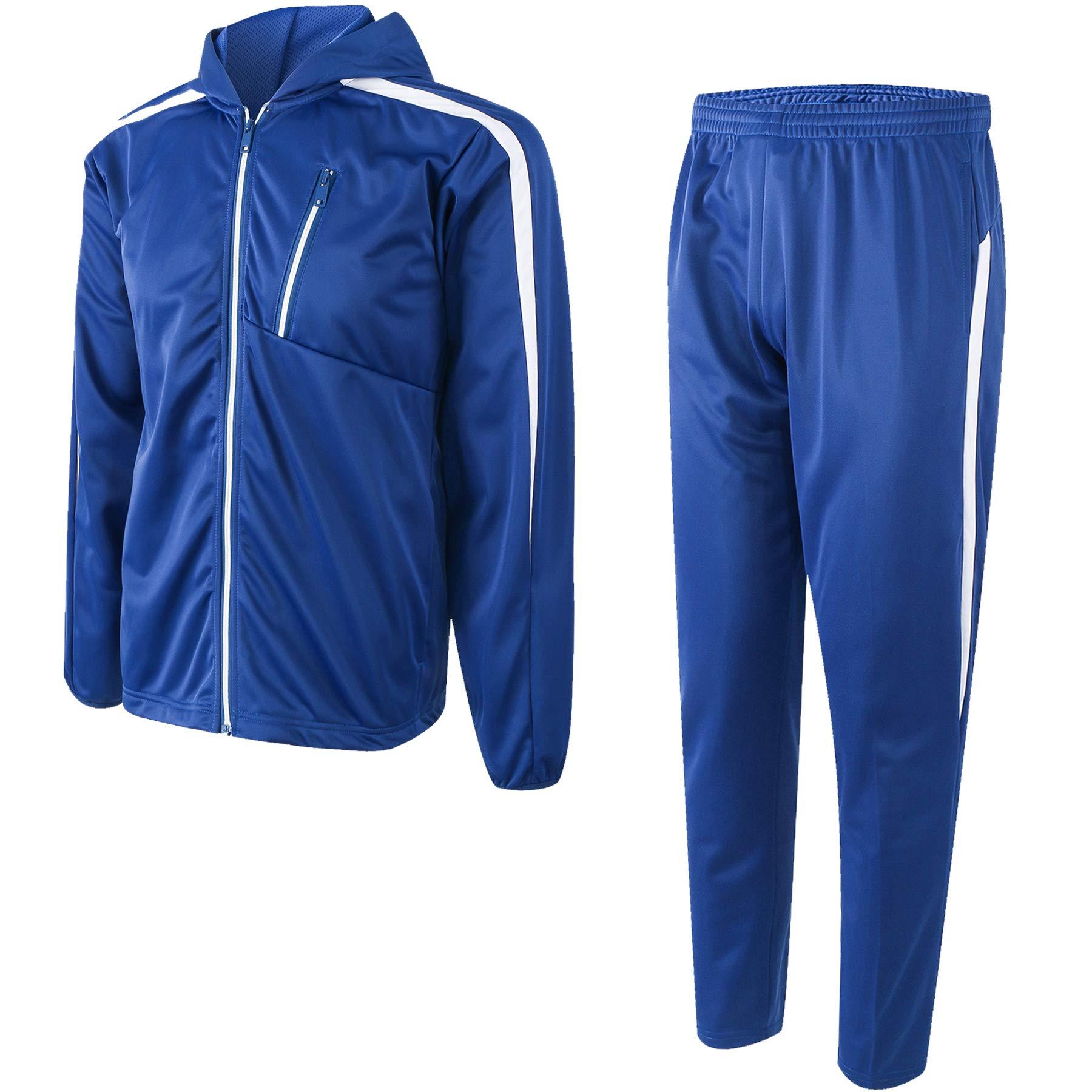 URBEX Mens Athletic 2 Piece Tracksuit Set Hooded Jacket and Sport Pants Long Sleeve Jacket Casual Loose Sweatshirt Drawstring Hoodie-Blu-M by URBEX