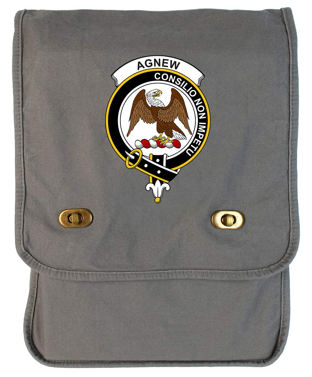 Tenacitee Scottish Clan Crest Badge Agnew Grey Brushed Canvas Messenger Bag