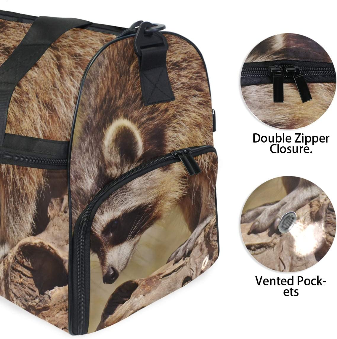 MUOOUM Cute Raccoon Paly Large Duffle Bags Sports Gym Bag with Shoes Compartment for Men and Women