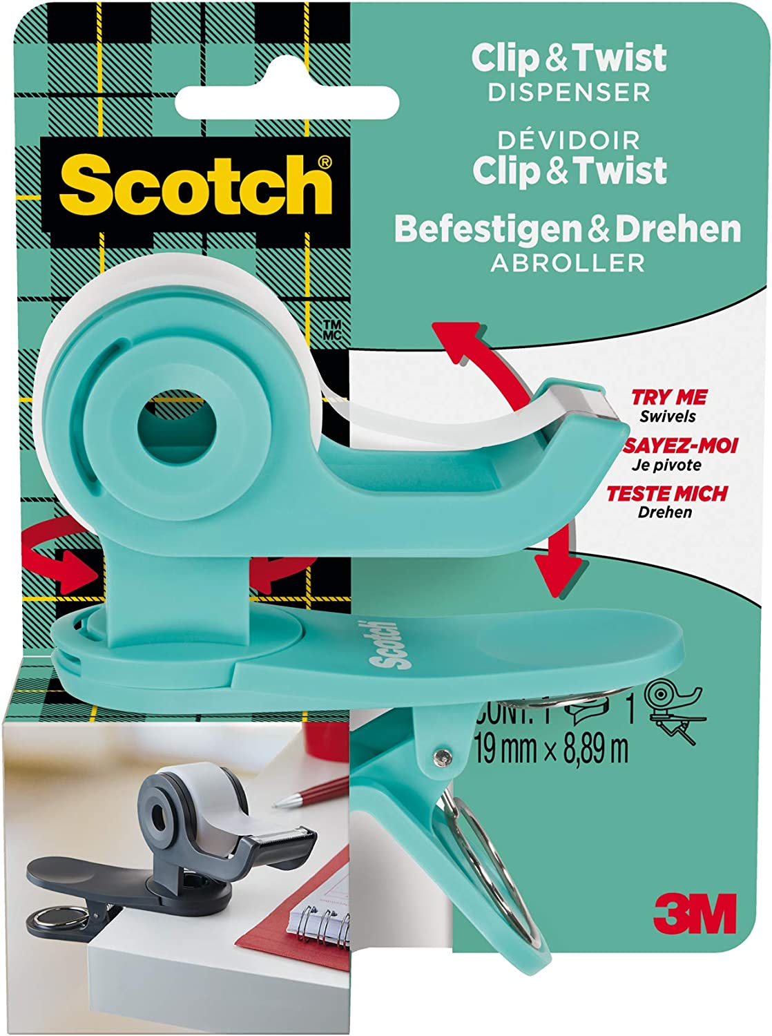 SCOTCH Adhesive Tape Dispenser C/&T Mint Green 1 Roll Included 19 x 9.8 m