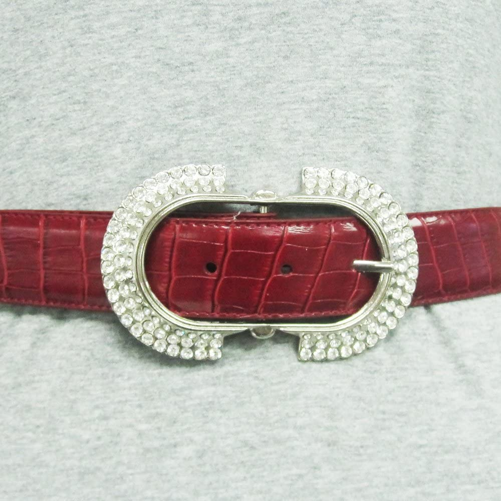Ladies Fashion Rhinestone Embellished Oval Buckle on Quality Croc Leather Strap