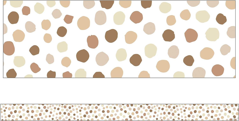 Simply Stylish Natural Polka Dots Straight Borders—12-Piece Bulletin Board Border Strips With Polka Dots, Border Trim for Classroom or Homeschool Decor (3' x 3