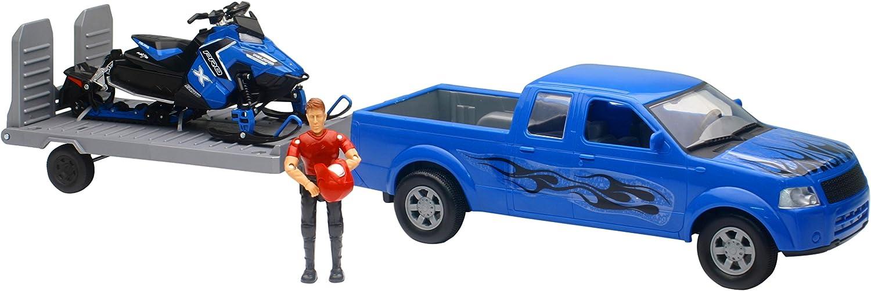 New-Ray 959-0082 Replica 1:18 Trk/Trailer/Sled Truck Blue/Polaris Blue