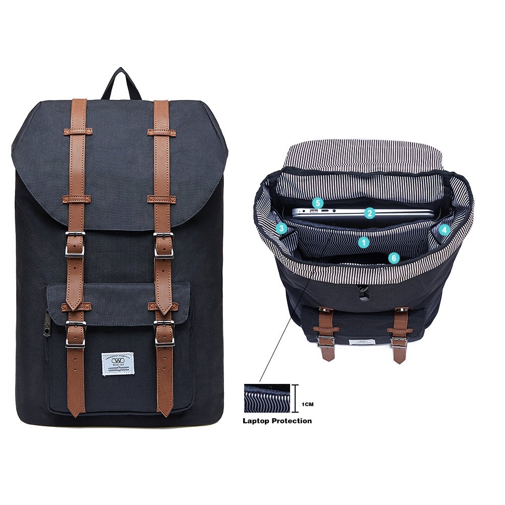 a20be16ad13 Laptop Outdoor Backpack College Schoolbag Bookbag Travel Hiking Rucksack  fits 15-Inch Laptop by KAUKKO