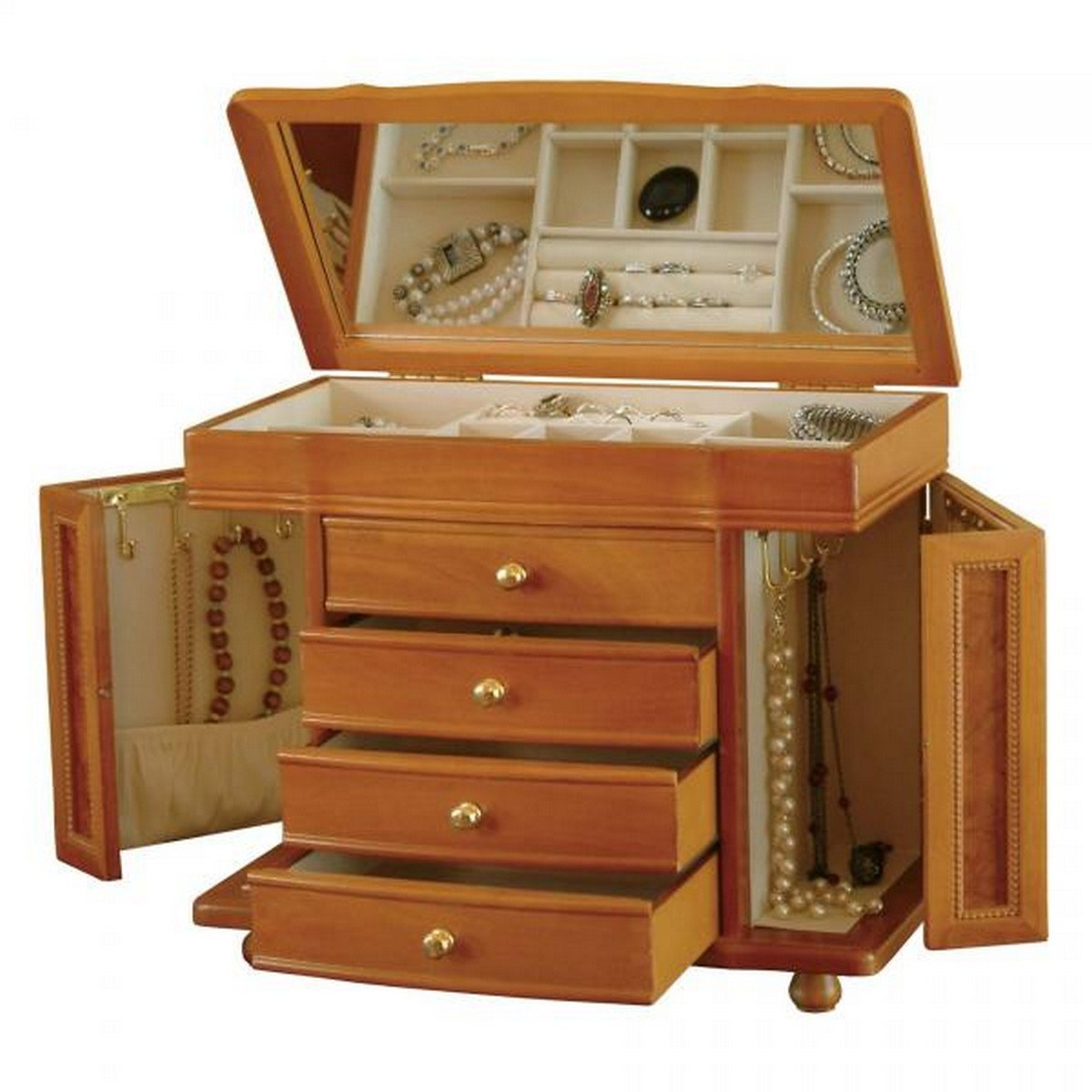 Wooden Box in Oak Finish w/ Burlwood Accents. Men's and Women's Classic Styled Jewel Chest and Storage Allurez MB81